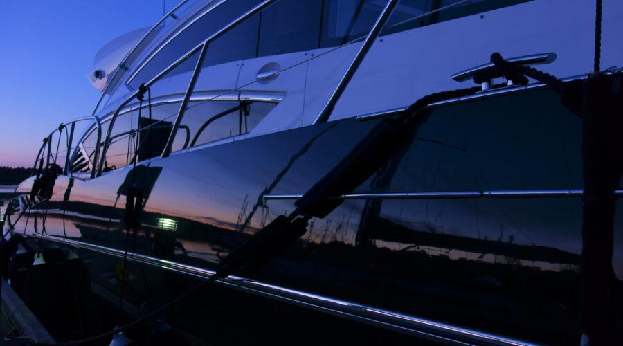 yacht at night