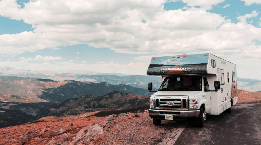 rv parked in the mountains