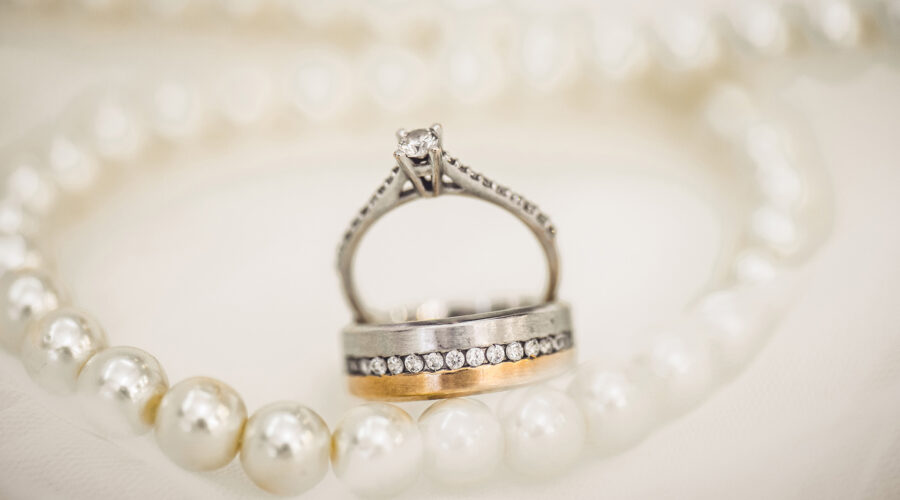wedding bands and pearls