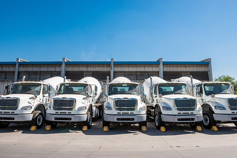 fleet of white trucks
