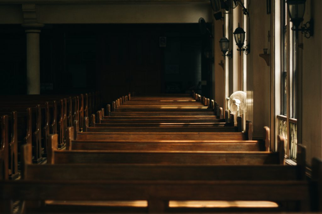 Church with wooden pews
