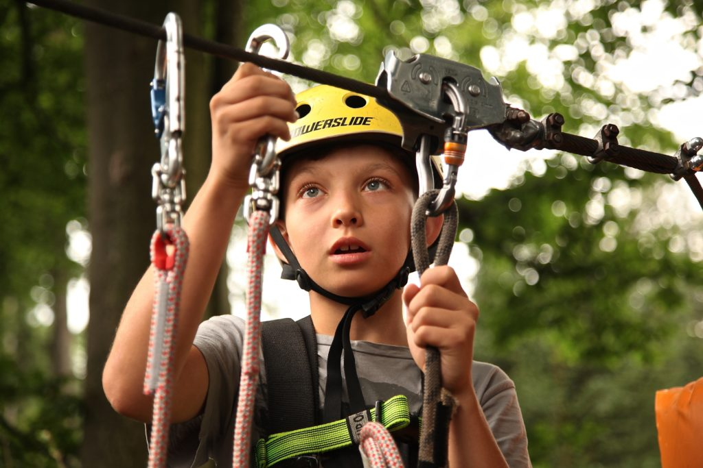 Child on a zip line