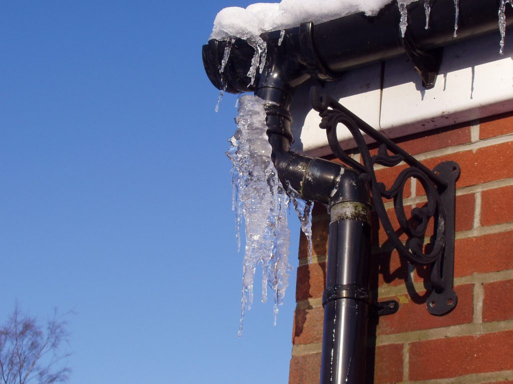 Ice on gutters